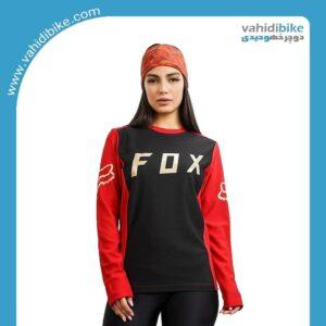 لباس دوچرخه سواری طرح FOX (فاکس) آستین بلند مشکی قرمز